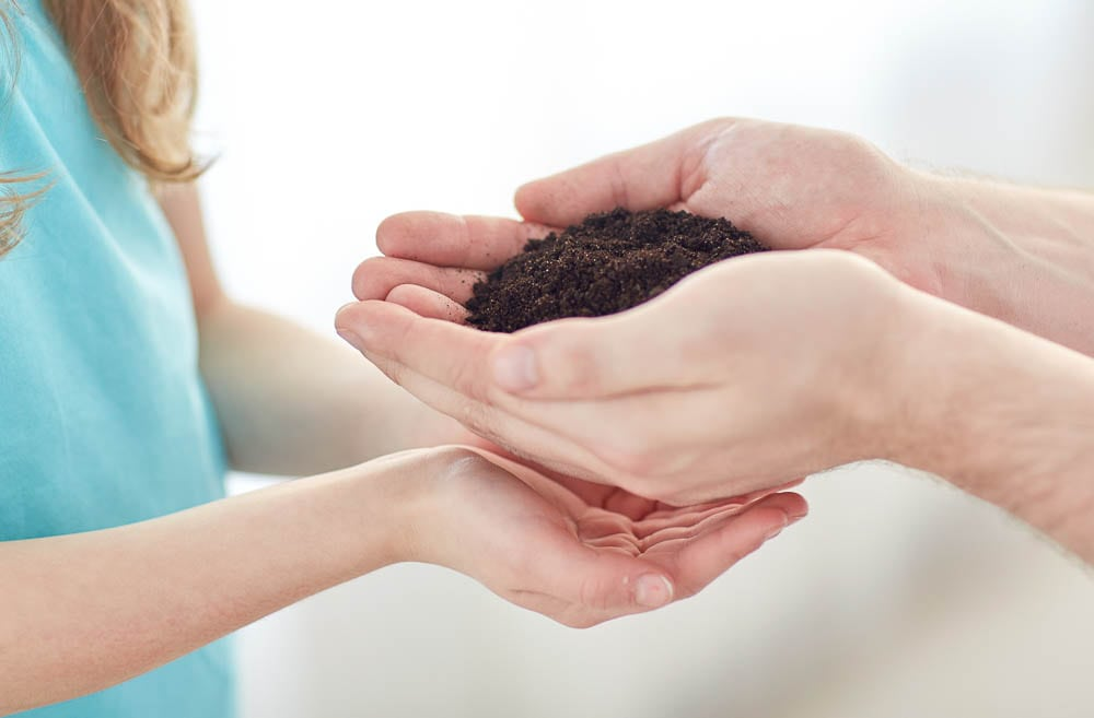 people, charity, family and legacy concept - close up of father and girl holding soil in cupped hands at home